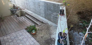 Poured concrete retaining wall