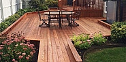 Newly stained cedar deck