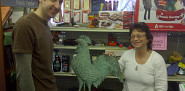 Bob Putnam and me with a super cute copper weather vane at Brown and Roberts Hardware Store in Brattleboro. --Cris