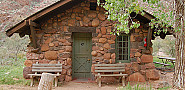 This cabin in the bottom of the Grand Canyon is cooled by an evaporative cooler.  Summer temperatures average 106 F.  Photo: Grand Canyon NPS.