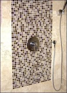 Black and white shower tiles