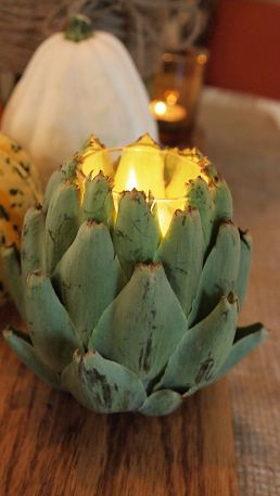 Artichoke candle holder by fourthirtyfour.com via Hometalk.com.