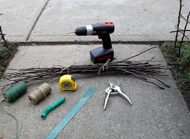 Supplies for building a twig fence. Photo: Gardening Gma/by permission