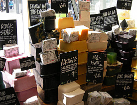 Delicious smelling soaps on display at a Lush store. Save the soap slivers and do something great with them! (Photo: Nicolas Toper/Wikimedia Commons)