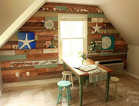 DIY pallet wall by Pretty Handy Girl via Hometalk.com.