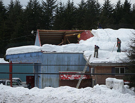 collapsed roof due to snow