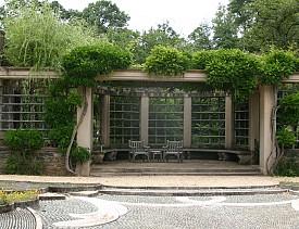 A garden trellis at Dumbarton Oaks. Photo by Erica Glasener.