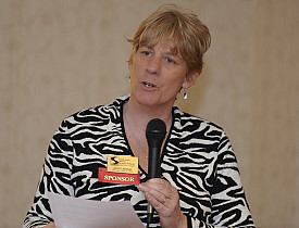 Janet LaBerge speaking at an event. Photo: South Shore Women's Business Network