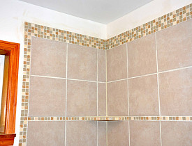 Photo and tile work by KMS Woodworks.