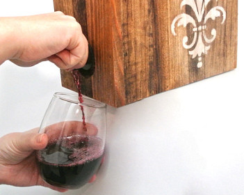 Wine box holder and photo by One Project Closer via Hometalk.com.