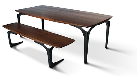 The Bowed Stiletto Dining Table and Dining Bench by City Joinery via CityJoinery.com