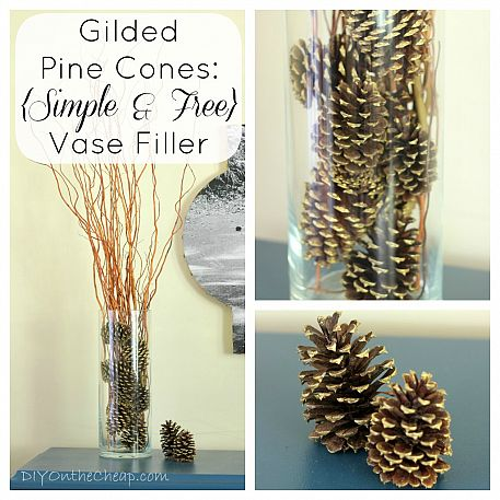 Gilded pine cones by DIY on the Cheap via Hometalk.com