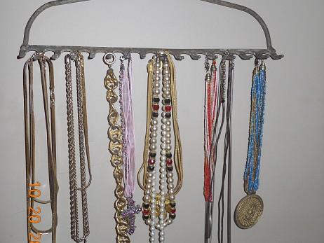 Rake head necklace rack by Lee Anne Culpepper.