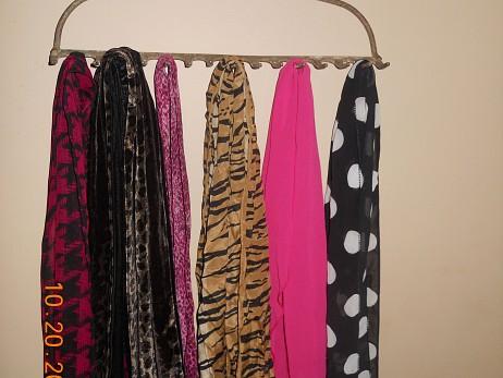 Rake head scarf rack by Lee Anne Culpepper.