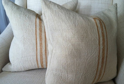 Hemp grain sack pillows by PaulaJDesigns on Etsy.com