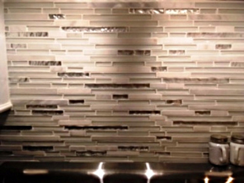 Closeup of tile backsplash