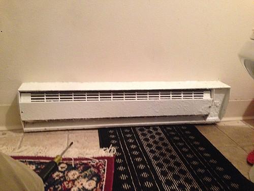 BEFORE Bathroom heater wasn't producing heat