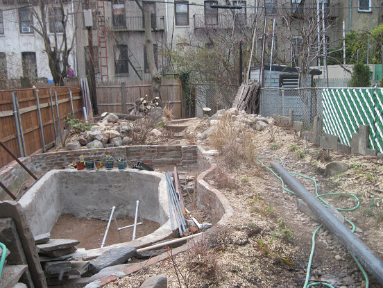 The brownstone's backyard in process will have native species plants.