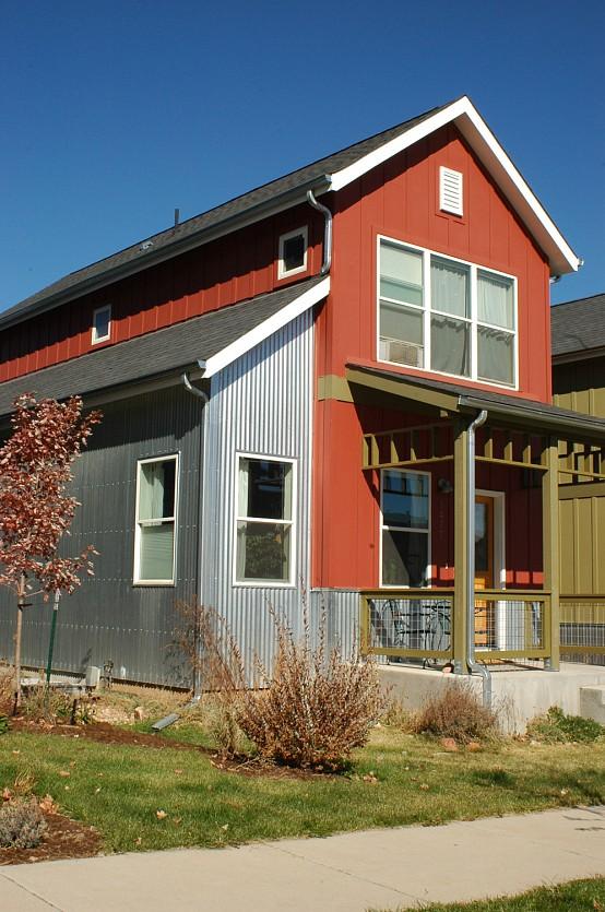 Corrugated aluminum siding networx for Exterior 2 story house galvanized tin cedar stone