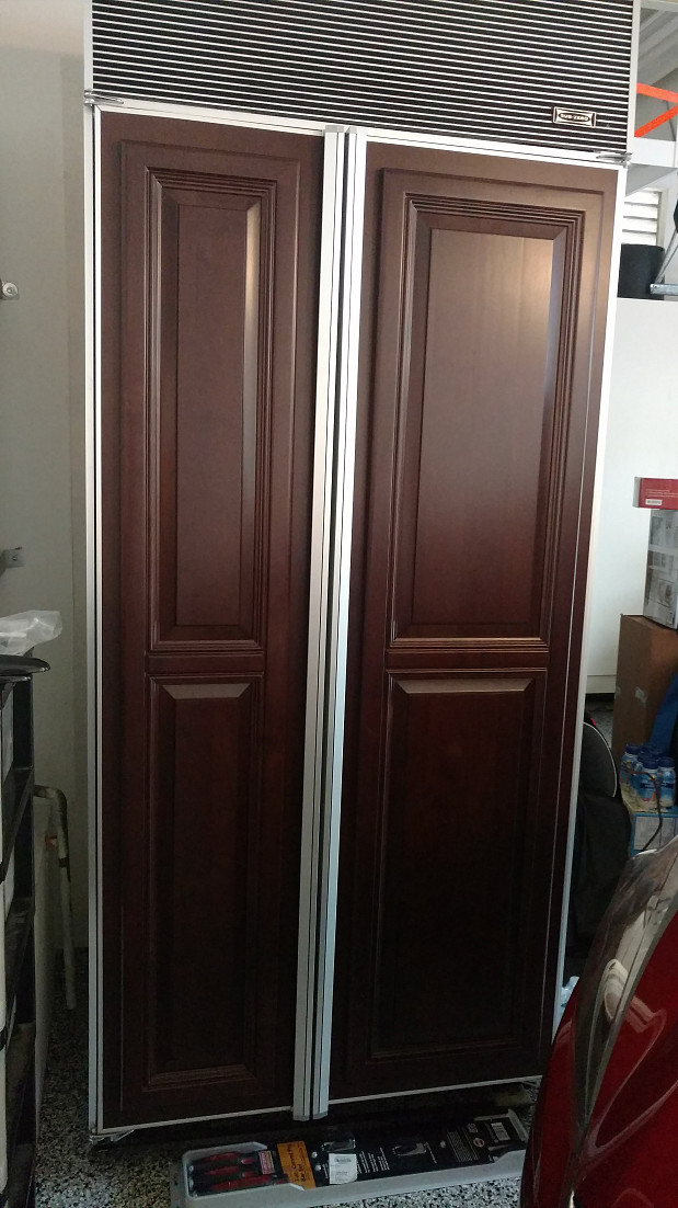 Paneled counter-depth fridge that was removed