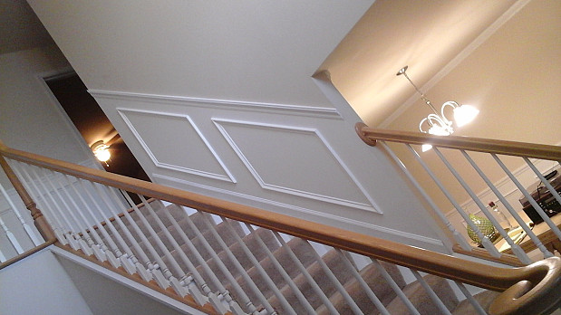 Molding installation next to stairs