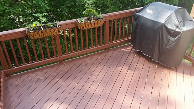 Deck after power washing & staining