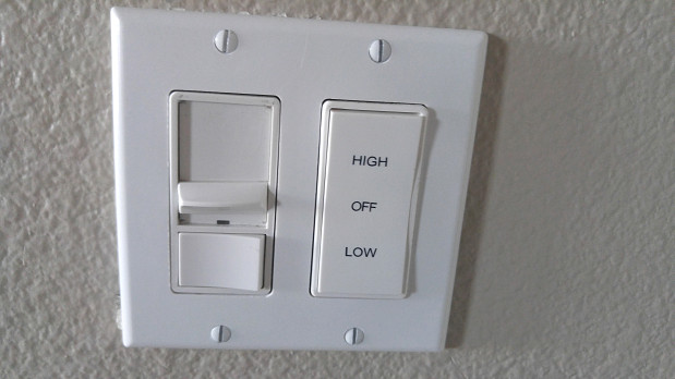 Whole house fan control switch