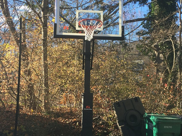 Newly installed hoop on a sunny day
