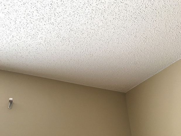 Neat interior paint on popcorn ceiling