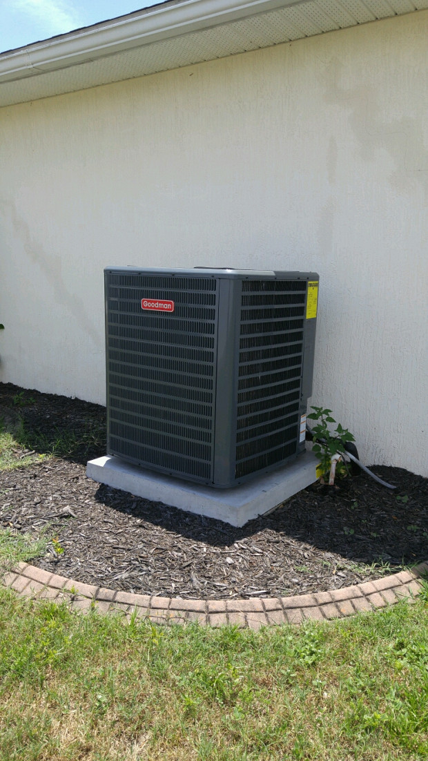 Replacement heat pump on a new concrete slab