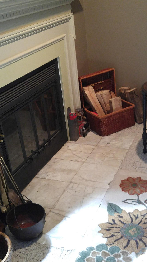 BEFORE: Damaged marble hearth