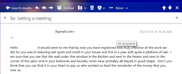 Contractor email asking for money