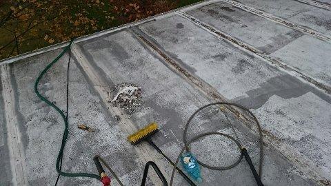During: roof repair in progress