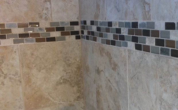 Detail of beautiful shower tile