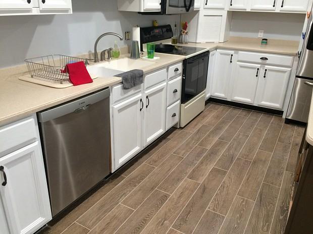 Newly tiled kitchen floor