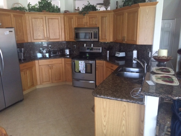 Before: Solid oak cabinets that needed an update
