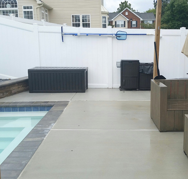 Patio extension near pool shallow end