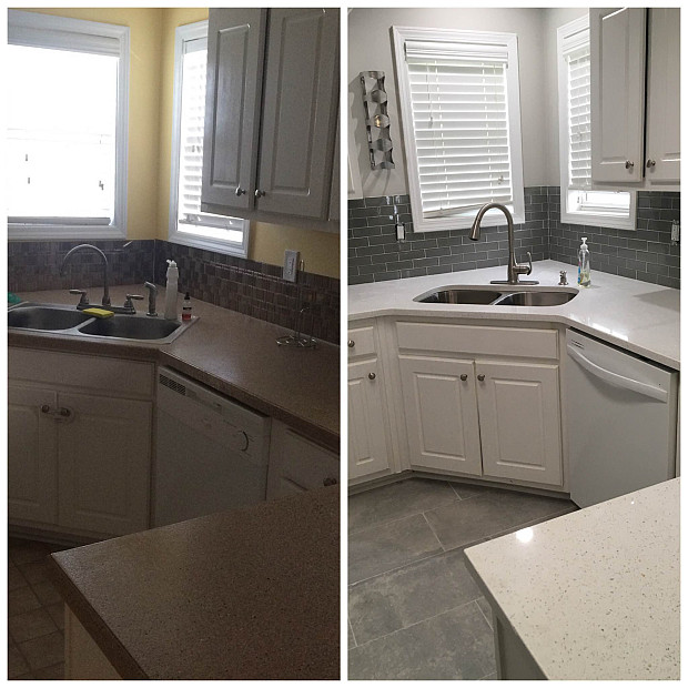 Kitchen backsplash before & after