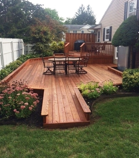 Newly stained cedar deck