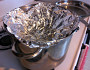 A makeshift aluminum foil steamer. Photo by the author, Noah Garfinkel.