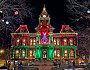 The Guernsey County Courthouse light show in the Dickens Victorian Village. Photo: DickensVictorianVillage.com